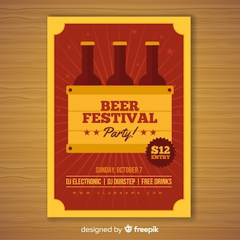 Belle affiche de fête oktoberfest au design plat