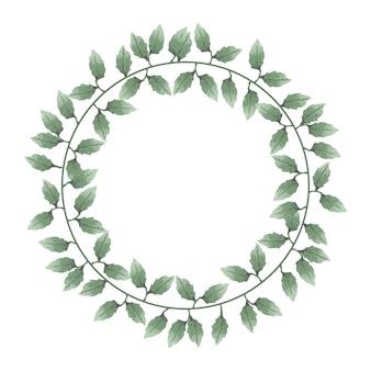 Belle aquarelle de couronnes de feuilles et de fleurs