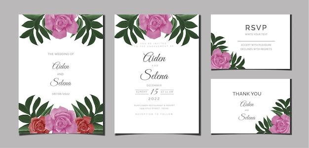 Belle aquarelle féminine numérique peinte à la main premium floral et feuilles carte d'invitation de mariage