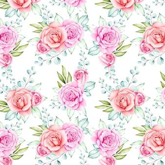 Belle aquarelle fleur et feuilles modèle sans couture