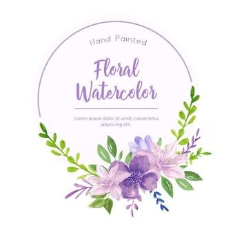 Belle aquarelle avec des fleurs violettes