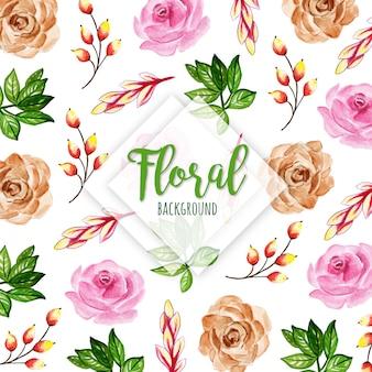 Belle aquarelle floral et feuilles de fond