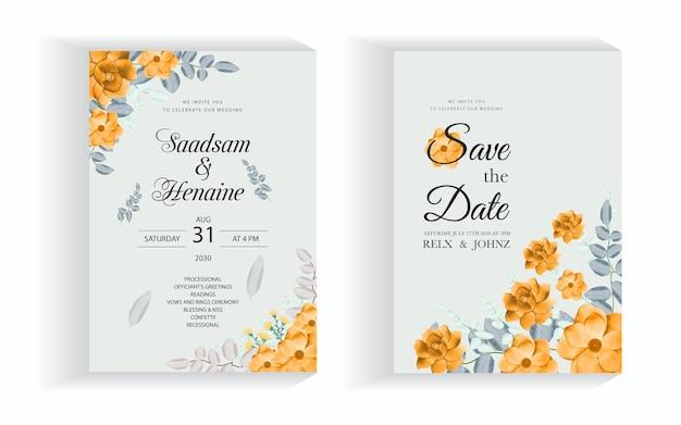 Belle aquarelle florale et feuilles carte d'invitation de mariage vecteur premium
