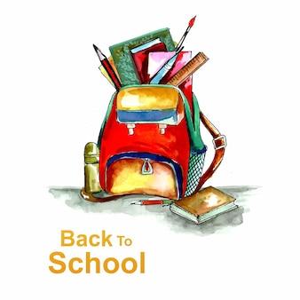 Belle aquarelle de retour à l'école avec fond de sac ouvert