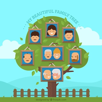 Belle arbre généalogique avec les membres heureux