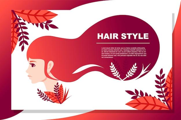 Belle bannière abstraite de style de cheveux de femmes de mode avec l'illustration plate de vecteur de modèle floral
