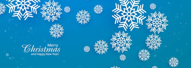Belle bannière bleue de flocon de neige de noël