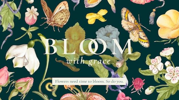 Belle bannière de blog de modèle floral modifiable, remixée d'œuvres d'art de pierre-joseph redouté