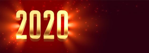 Belle bannière de bonne année 2020 rougeoyante
