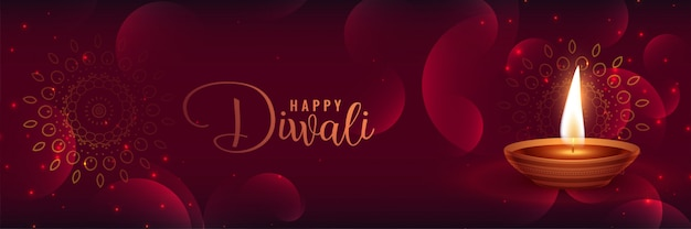 Belle bannière brillante de diwali avec featya diya
