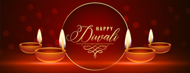 Belle bannière brillante joyeux diwali avec diya