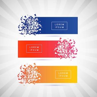 Belle bannière cassée coloré set vector