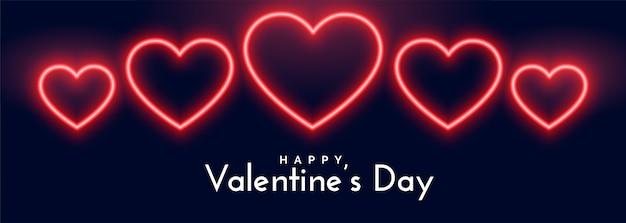 Belle bannière de coeurs au néon pour la saint-valentin