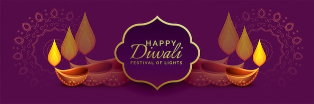 Belle bannière de diwali à décor de diya