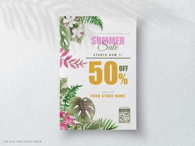 Belle bannière d'été floral tropical