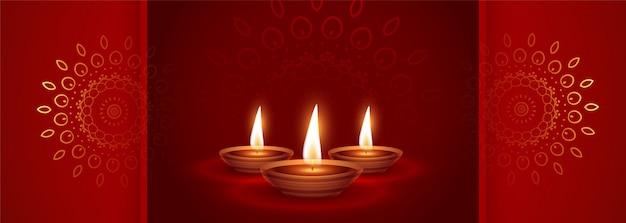 Belle bannière ethnique rouge joyeux diwali festival