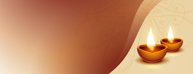 Belle bannière réaliste de diwali diya avec espace de texte