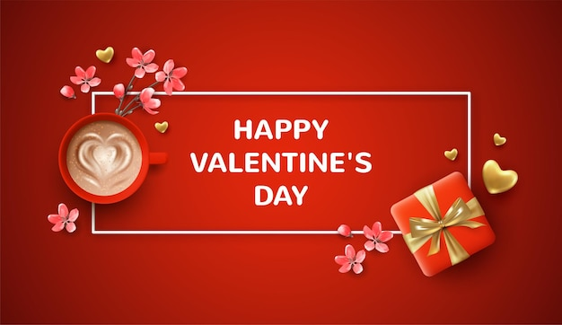 Belle bannière de la saint-valentin. illustration de vacances avec un cadeau réaliste de la saint-valentin et une tasse de café