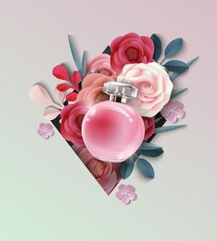 Belle bouteille de parfum réaliste sur fond de belles fleurs en papier. fond de beauté et de cosmétiques. utilisation pour dépliant publicitaire, bannière, dépliant. vecteur de modèle.