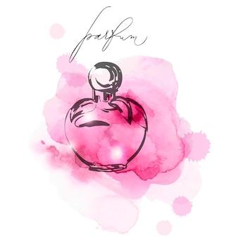 Une belle bouteilles de parfum sur un fond aquarelle lilas parfum pour femme aquarelle de vecteur