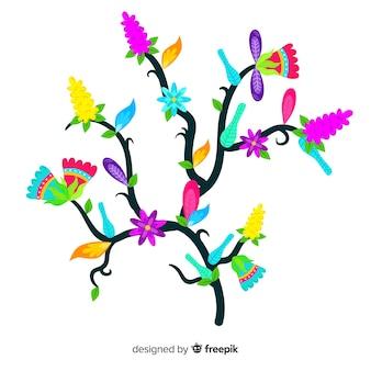 Belle branche florale avec un design plat