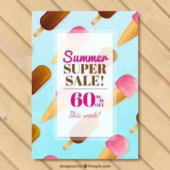 Belle brochure de vente d'été avec de la glace en effet d'aquarelle