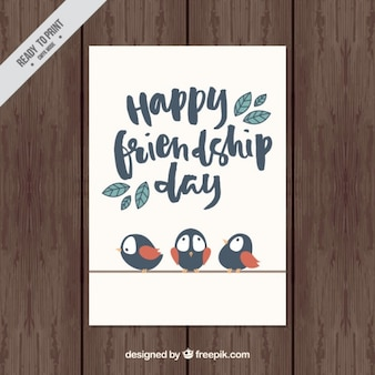 Belle carte d'amitié vintage avec des oiseaux