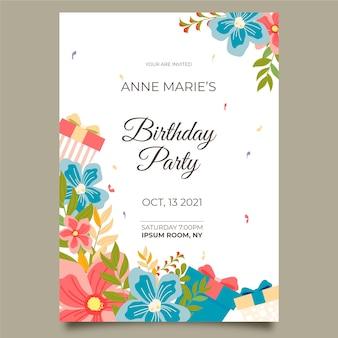 Belle carte d'anniversaire floral