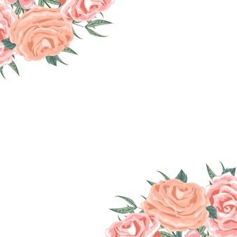 Belle carte d'arrangement floral dans les coins
