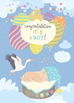 Belle carte avec cigogne et bébé sur ciel bleu