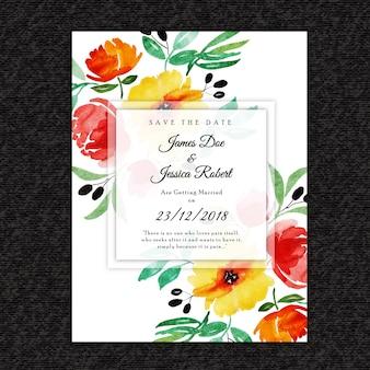 Belle carte d'invitation de mariage floral aquarelle