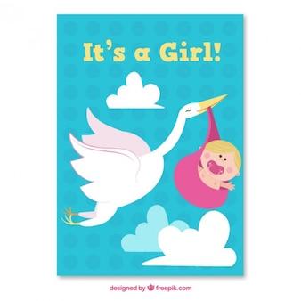 Belle carte de douche de bébé avec un dessin agréable