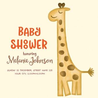 Belle carte de douche de bébé doodle wirh aquarelle girafe