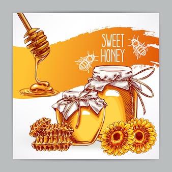 Belle carte avec du miel. pots de miel, abeilles, nid d'abeille. illustration dessinée à la main