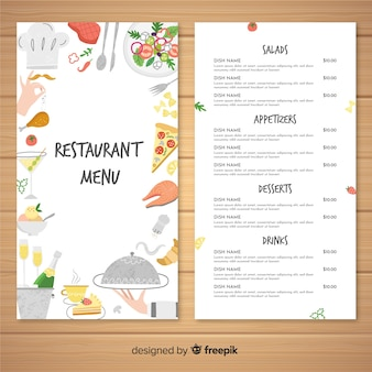 Belle carte du restaurant dessinée à la main