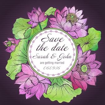 Belle carte élégante save the date avec des fleurs de lotus graphiques
