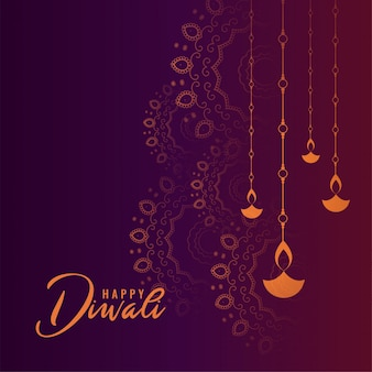Belle carte de festival de joyeux diwali violet