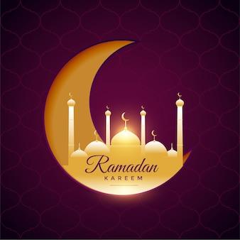 Belle carte de festival ramadan kareem avec lune et mosquée