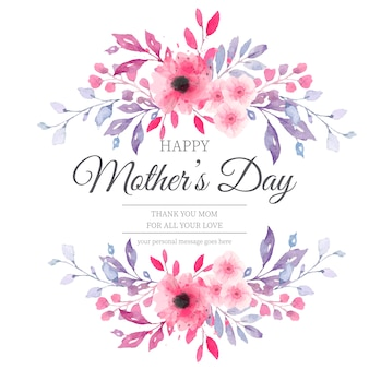 Belle carte de fête des mères avec des fleurs à l'aquarelle