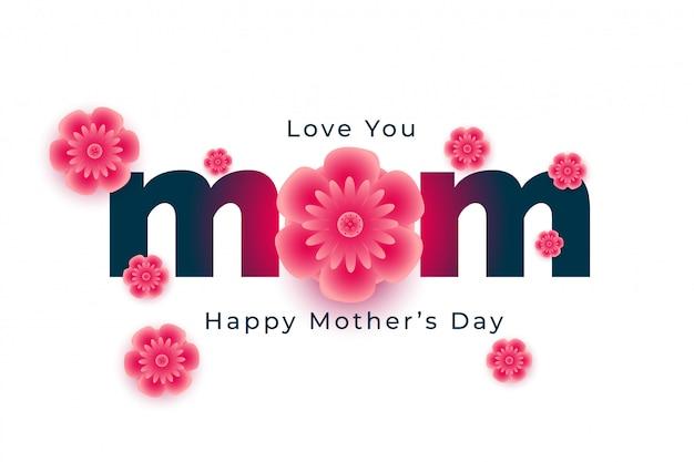 Belle carte de fête des mères heureuse avec des fleurs