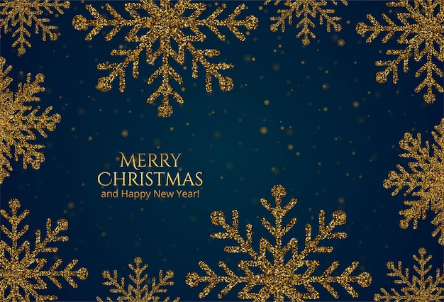 Belle carte de flocons de neige de paillettes d'or