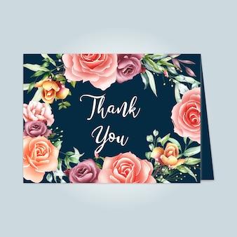 Belle carte florale avec message de remerciement