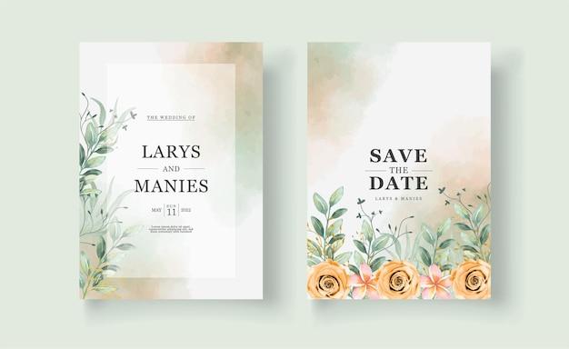 La belle carte d'invitation de mariage avec l'aquarelle de fleur rose