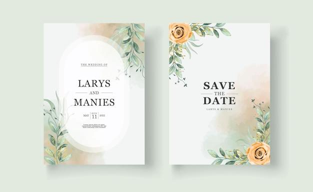 La belle carte d'invitation de mariage à l'aquarelle de fleurs