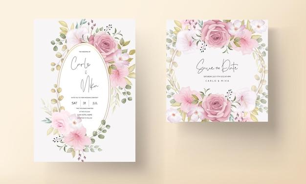 Belle carte d'invitation de mariage avec une belle décoration florale