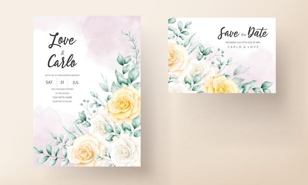 Belle carte d'invitation de mariage cadre floral aquarelle avec une nature douce
