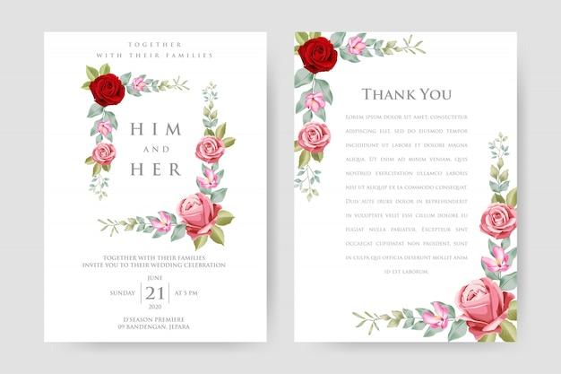 Belle carte d'invitation de mariage avec cadre floral