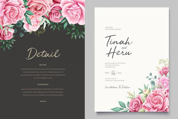 Belle carte d'invitation de mariage avec couronne florale aquarelle
