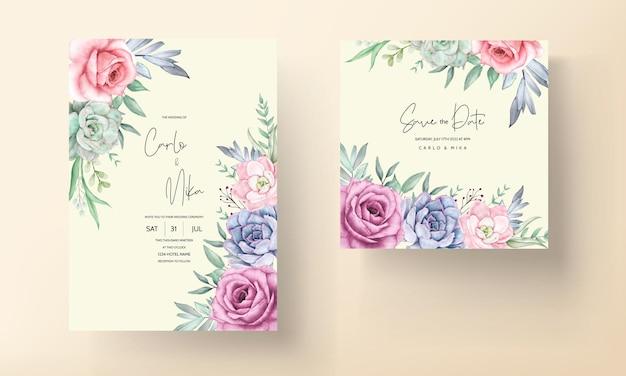 Belle carte d'invitation de mariage couronne florale aquarelle