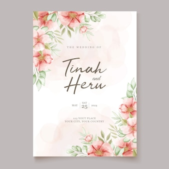 Belle carte d'invitation de mariage avec couronne florale